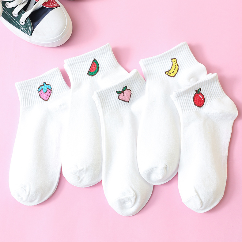 ETya 1Pair New 2019 Cartoon Cute Women Short Socks Spring Summer Cotton Fruit Comfortable Socks