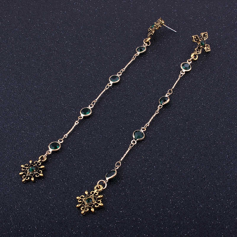... Lalynnly Vintage Gold Long Earrings for Women Rhinestone Long Earrings  Cross Earrings with Stones Green Vintage ... 1d4aeb221def