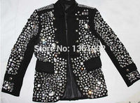 Большие размеры на заказ черный кристалл куртка певец танцор производительность камни верхняя одежда костюм со стразами куртка наряд