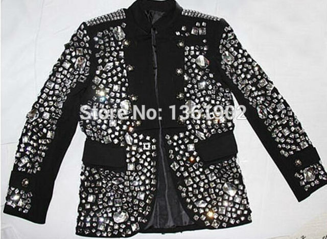 7e327d9b5b1 Plus size Custom made black Crystal jacket male singer dancer performance  stones outerwear costume rhinestone jacket outfit