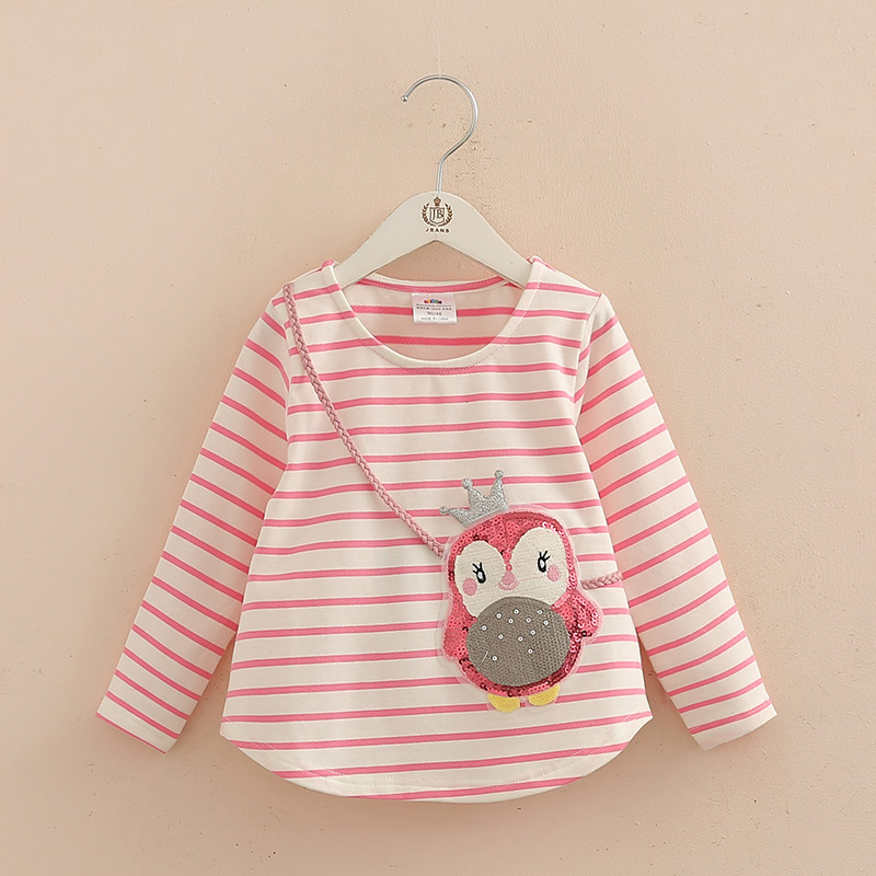 Spring Autumn Sequined Penguin Children Girls T Shirts Top Long Sleeves Baby T-shirts Kids Clothes Tops Tees 2018 T1/9369DBE 1