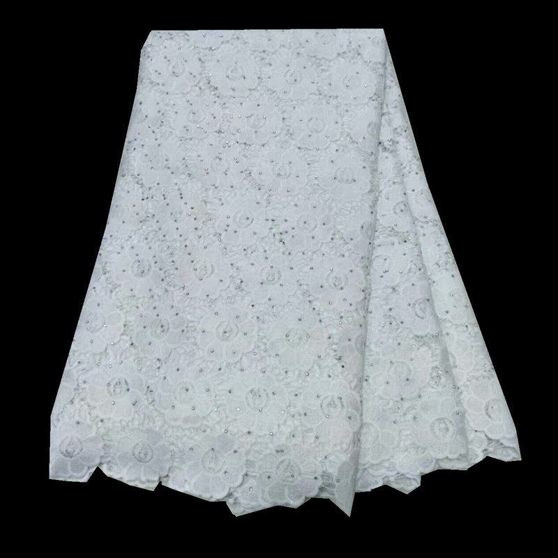 Apparel Sewing & Fabric White Color 2018 High Quality African Milk Lace Fabric Chemical Milk Silk Lace Fabric With Stones For Women Or Man 2l3065-571 Arts,crafts & Sewing