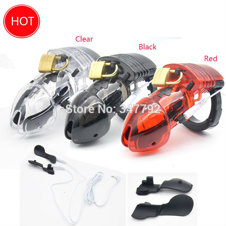 Buy New Electro Shock Male Chastity Device Cock Cages Men Lock adjustable Penis  Ring Cock Ring Chastity Belt Cuff Ring CD045