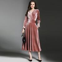 2018 Spring Autumn Winter England Style New V Collar Butterfly Sleeve Collect Waist Dress Temperament Velvet