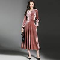 2018 Spring Autumn Winter England Style New V Collar Butterfly Sleeve Collect Waist Dress Temperament Velvet