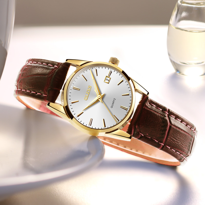 OLEVS simple fashion Ladies watches clock relojes mujer 2017 leather day date watch women Luminous Hands waterproof Wist watches