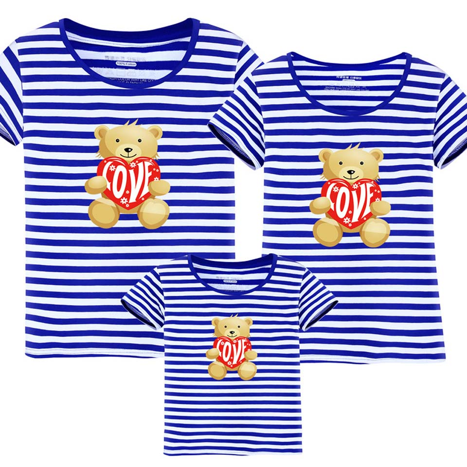 Family Look Brand New Summer Family Matching Outfits Blue Striped T Shirt Short Sleeve Mot