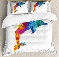 Dolphin Duvet Cover Set ed Animal Design Watercolor Pattern Vibrant Ocean Mammal Image Print Decorative 4 Piece Bedding Set