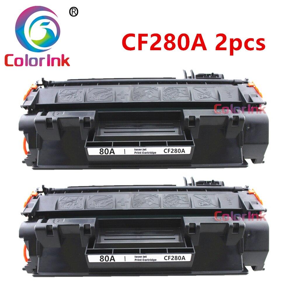 ColorInk 2pack for HP CF280A 280A 80A  toner cartridge HP LaserJet  400 M401n M401d M401dn MFP M425dw printer black cartridgeColorInk 2pack for HP CF280A 280A 80A  toner cartridge HP LaserJet  400 M401n M401d M401dn MFP M425dw printer black cartridge