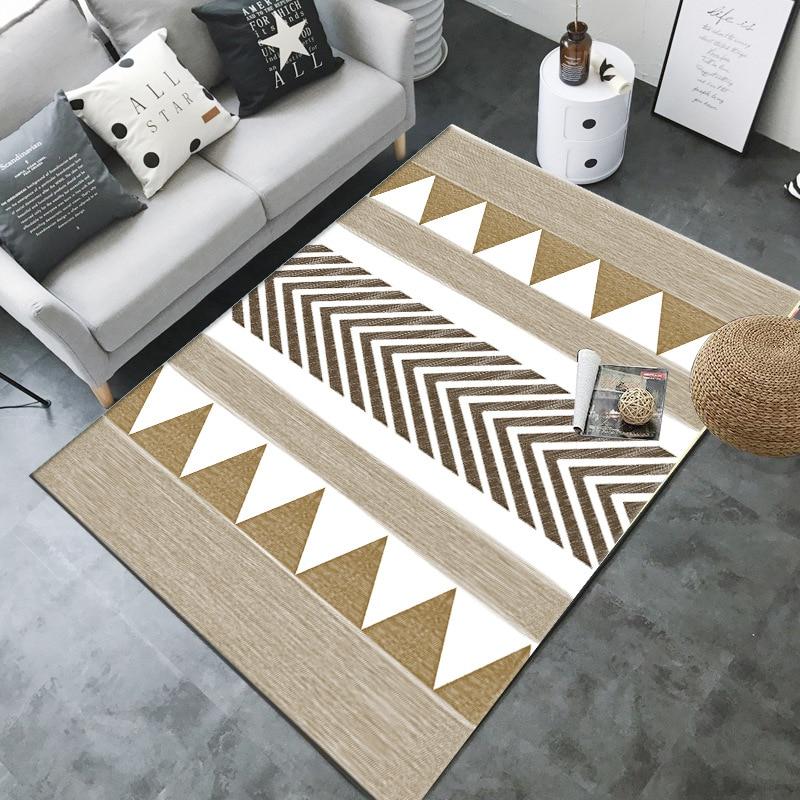 Ethnic Boho Brown Fashion Modern Geometric Soft Flannel Floor Foot