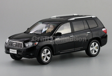 2009 Black 1:18 TOYOTA Highlander SUV Off Road Alloy Model Car Miniature Scale Model Hot Sale  Brinquedos