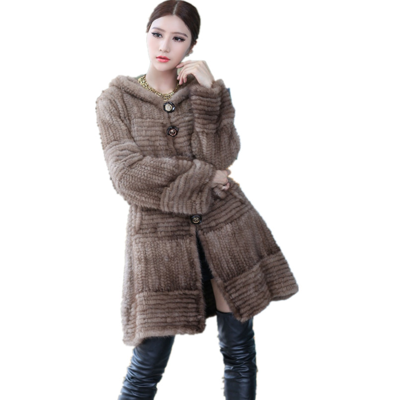 genuine mink fur knitted coat ladies luxury autumn hooded winter warm gray brown black casual long outerwear with belt K201