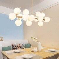 Nordic modern pendant lights glass lamp black/gold magic beans simple hanging lamp ball bar bedroom led pendant lighting AC220V