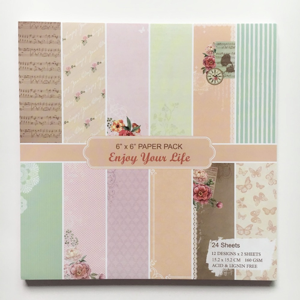 Scrapbook paper pads - New Style 6 Background Paper Pads Colorful Music Flowers Patterns 24sheets Diy