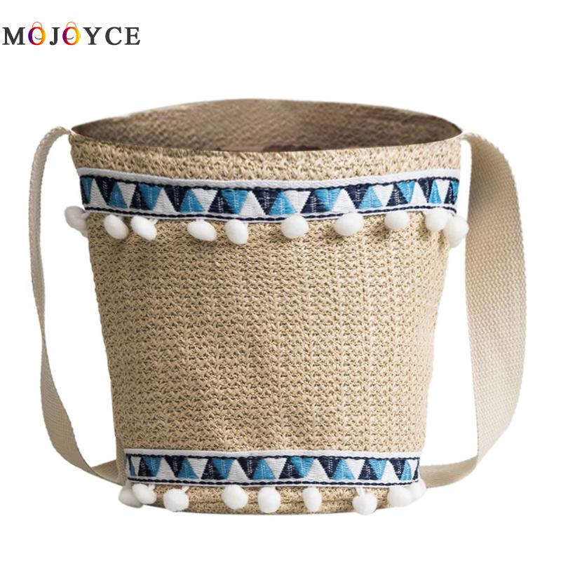 Bohemian Beach Tassels Straw Weave Women Bucket Bag Summer Small Totes Wide Strap Shoulder Bags Lady Handbag
