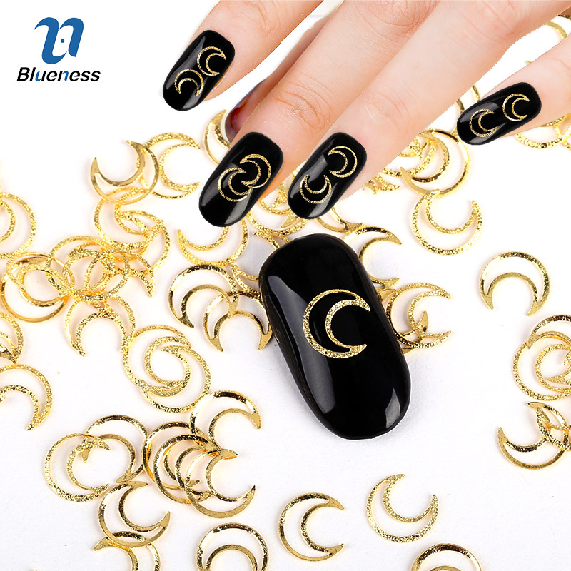 Gold Silver Metal Hollow Moon 3D Decorations Nail Art Charms Crescent Design Diy Supplies Glitter Studs For Nails PJ608 PJ609