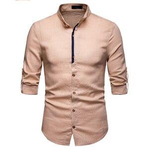 Image 4 - Męskie Pure White 100% koszula lniana stójka z długim rękawem męskie ubranie koszule Casual do pracy Plus rozmiar koszulka Homme topy