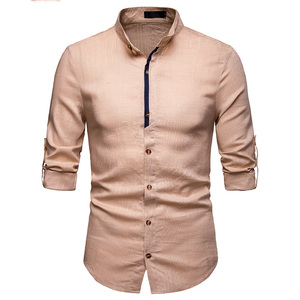 Image 4 - Mens Pure White 100% 리넨 셔츠 만다린 칼라 긴 소매 남성 드레스 셔츠 캐주얼 비즈니스 작업 플러스 사이즈 Chemise Homme Tops
