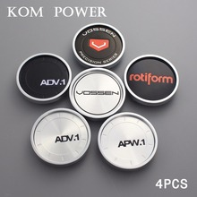 KOM 4pcs 50.5/45mm clip vossen emblem sticker rotiform logo hubcaps enjoliveur roue center cap for rim universal dust-proof hood
