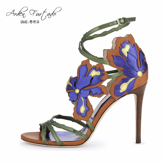 2d12bac75ff6f new 2017 summer thin heels stiletto high heel embroidery sandals plus size  blue flower cover heel ankle buckle strap woman shoes