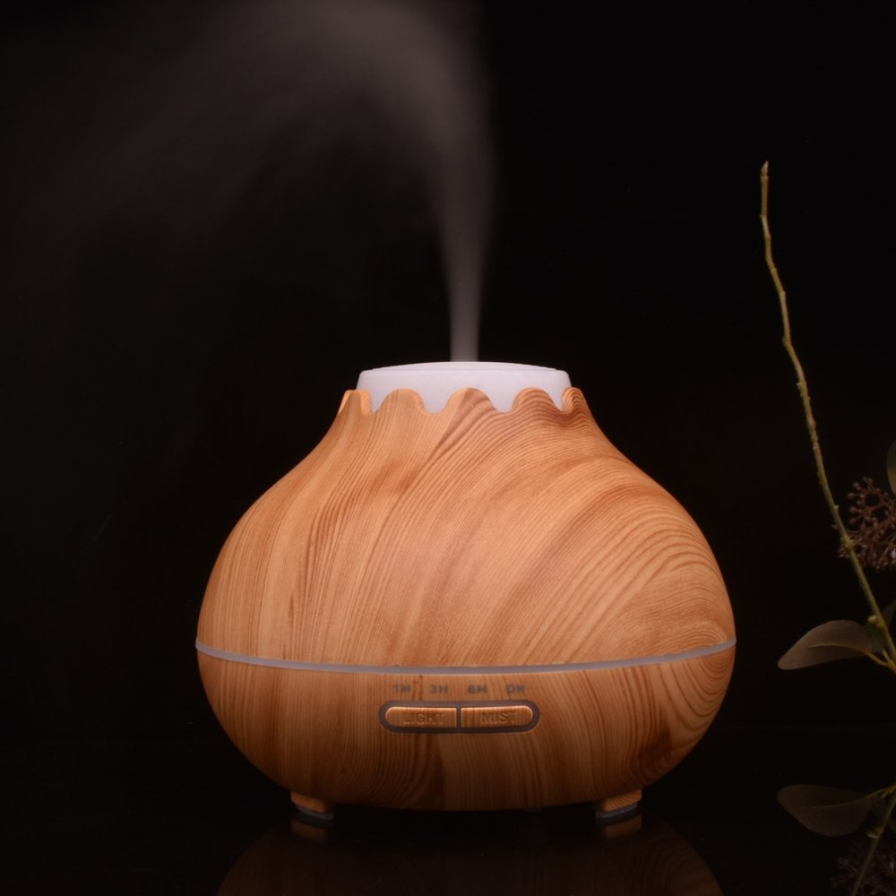 ICOCO 400ml Wood Grain Air Humidifier Essential Oil Diffuser Aromatherapy Electric Mist Maker with LED Lights for Home Office brand new portable led lights wood grain expansion machine negative ion oil diffuser humidifier aromatherapy machine for home