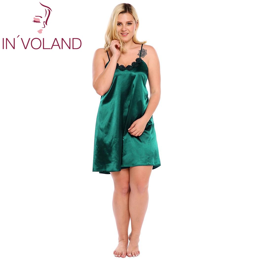 IN'VOLAND Plus Size XL-5XL Women Sleepwear Dress Sexy Lingerie Robe Spaghetti Strap Lace Satin Large Chemises Nightgown Big Size