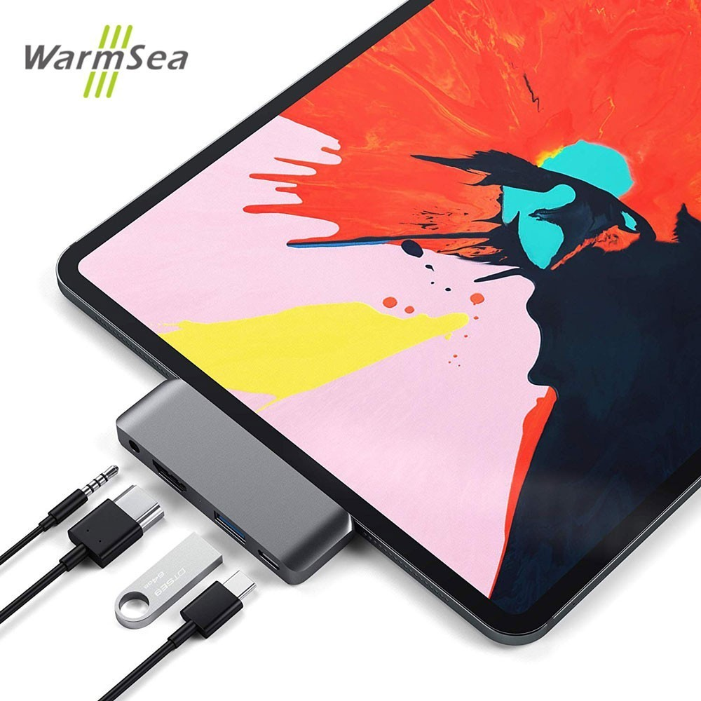 USB C Hub Adapter with USB C TYPE C PD Charging 4K HDMI USB 3.0 3.5mm Headphone with 2018 iPad Pro MacBook Pro SAMSUNG S8 S9 S10-in USB Hubs from Computer & Office