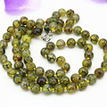 10mm natural yellow dragon agate stone jasper long chain necklace round beads wholesale price elegant neck jewelry 36inch B3208