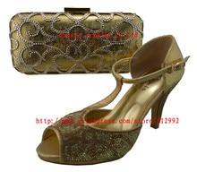 Hohe qualität passenden italienischen schuhe und tasche set für abendgesellschaft in gold schuhe und passende handtasche 1308-L12