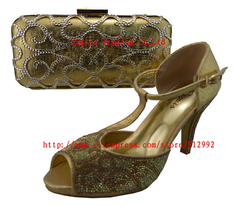 ФОТО High quality matching italian shoes and bag set for evening party in gold shoes and matching clutch bag  1308-L12