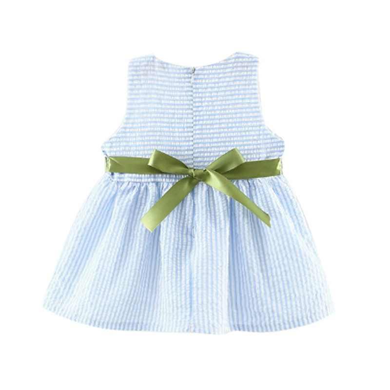 Moda verano bebé niñas flor rayado princesa niños vestidos vestido sin mangas 1-4 T caliente