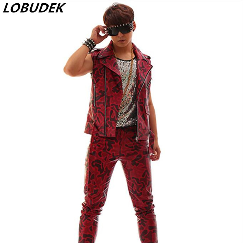 (vest+pants) Camouflage Red Male PU Leather Slim Vest Pants Suit Set Hip Hop Jazz Costumes Singer Nightclub Bar Show Stage Wears