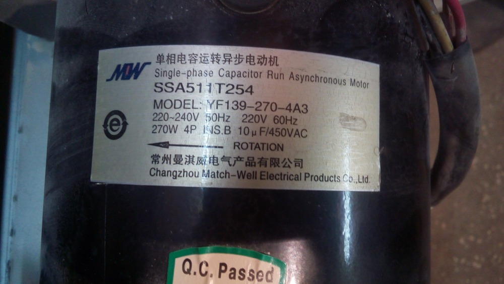 Fast Shipping MOW YF139-270-4A3 220V 60Hz 270W 4 Pole single phase capacitor run asynchronous motor fast shipping mow yf139 550 4a11 220v 50hz 550w 4 pole single phase capacitor run asynchronous motor