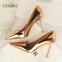 Gersri 2019 Newest Women 9.5cm High Heels Gold Pumps Female Escarpins Luxury Tacons Lady Shoes High Heels Scarpins Shoes