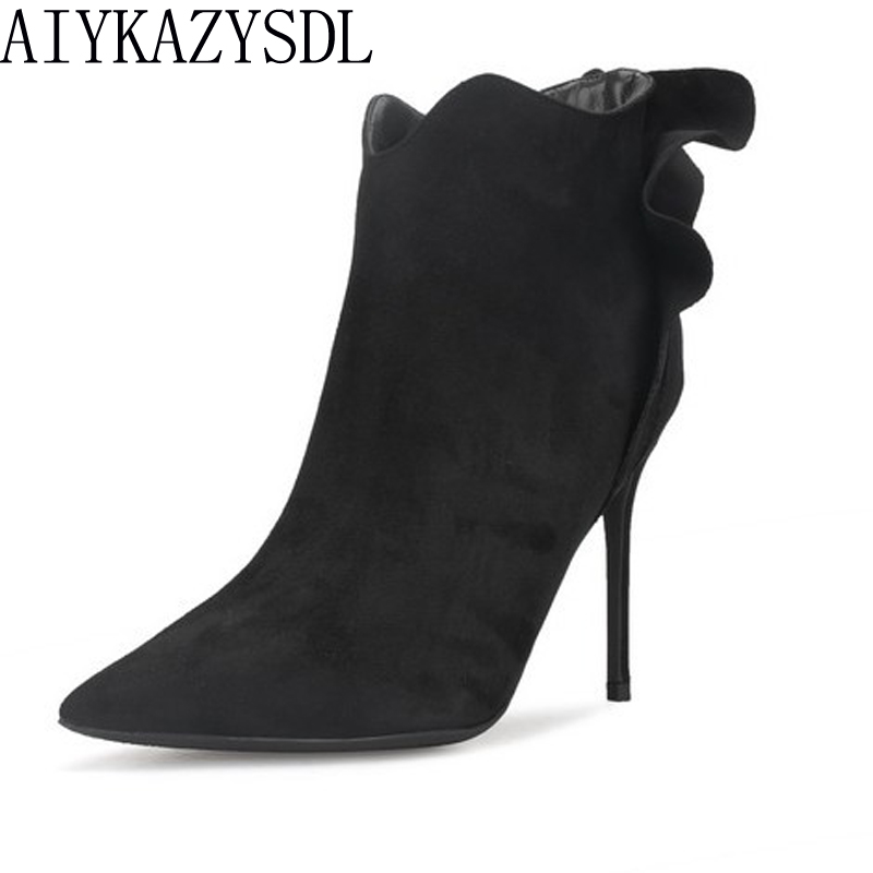 AIYKAZYSDL 2018 Pleated Ruffle Boots High Heels Autumn Winter Women Flower Faux Suede Ankle Boots Dress Shoes Stiletto Plus Size faux suede stiletto ankle boots dusty rose