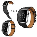 New 3 in 1 Package Single Tour Double Tour Cuff Genuine Leather Strap For Apple Watch 38mm 42mm With 1:1 Original Metal Adapters