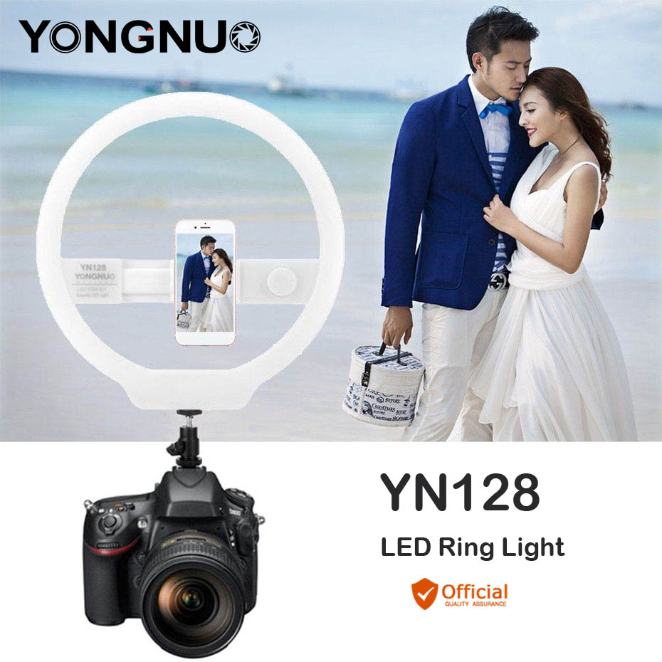 YONGNUO YN128 LED Ring Light 3200K-5500K Photography Lamp for iPhone 6 6s 7 8 Plus Samsung HTC Huawei Canon Nikon Camera Studio yongnuo yn128 camera photo studio phone video 128 led ring light 3200k 5500k photography dimmable ring lamp for iphone 7 7 plus