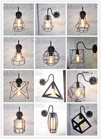 Free ship Edison goose neck sconce vintage black finished iron cage wall lamp for dinning room bed room study CE/UL CERTIFICATE
