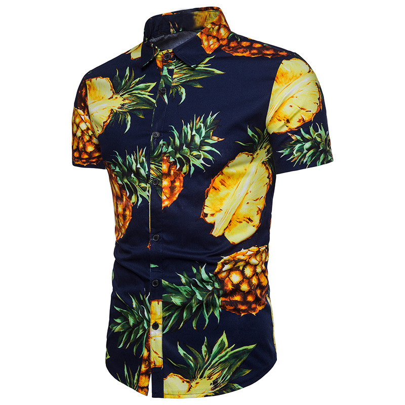 Hawaiian Style Pineapple Print Men Shirts Stand Collar Short Sleeve Slim Fit Casual Male Tee Tops 2018 Summer Vacation Clothes