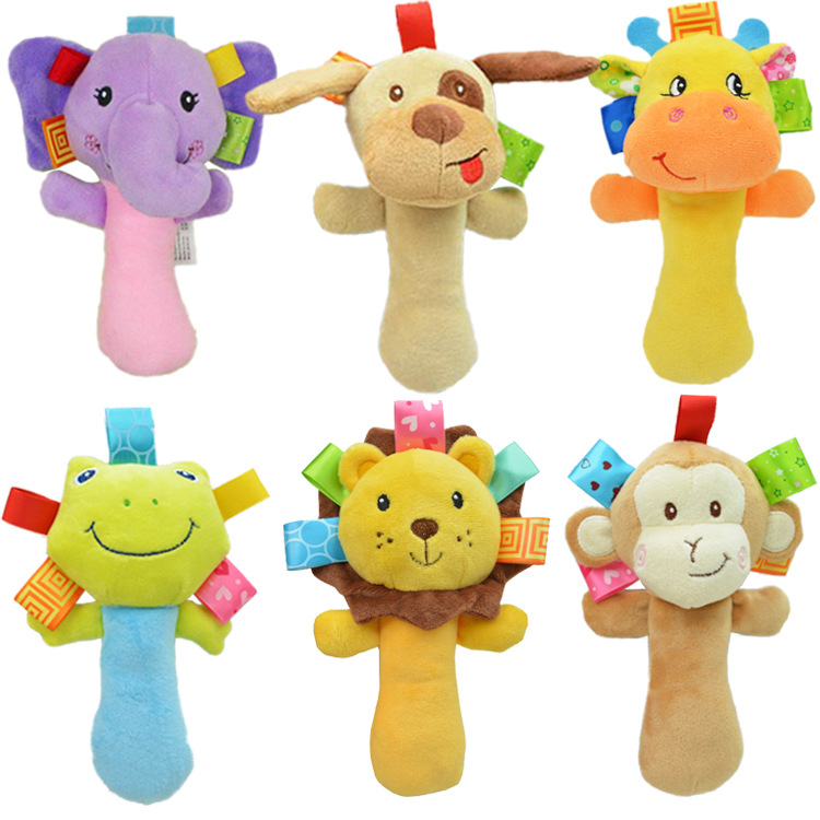 Toys For 0 12 Months : Baby rattles toys months cartoon plush animal