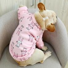 О-образный вырез Frech одежда для бульдога осень зима собака рубашка куртка для маленьких животных домашних животных Розовый Синий домашние пижамы Щенок Одежда Аксессуары