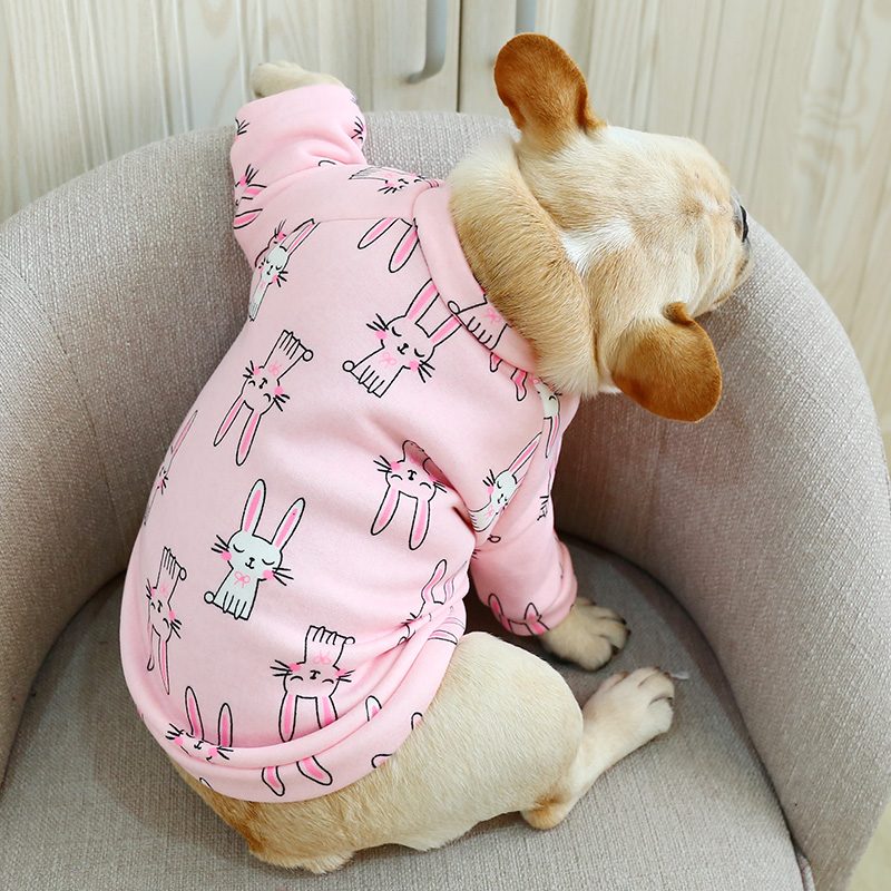 O Neck Frech Bulldog Clothes Autumn Winter Dog Shirt Jacket For Small Animal Pet Pink Blue Indoor Pajamas Puppy Wear Accessories Dog Hoodies    - title=