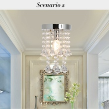 (US) LED Crystal Glass Ceiling Light Chandelier Lamp Dropshipping us shipping crystal spiral pendant light size dia25 h100cm lamp ceiling rain drop chandelier