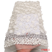 White French Net High Quality Design Handmade of lace Sequins Beaded Beads Fabric African 3d flower lace Nigerian XZ1740B 2