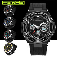 SANDA Luxury Brand Fashion Waterproof Military Sports Watches Men Digital Wrist Watch Male Clock LED Double