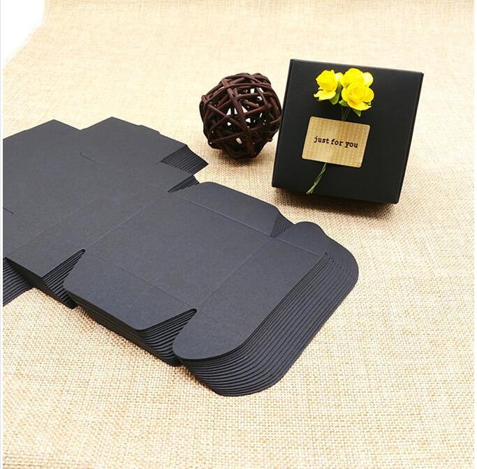 50pcs Black Paper Boxes Wedding Favor Candy Box Necklace Earrings Ring Gift Box For Christmas Birthday Party 9.5*9.5*3CM
