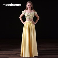 2018 Candy Color Prom Dresses Cheap A Line Two Piece Satin Flower Cheap Custom Made Plus Size Formal Evering Gowns