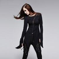 Punk Heavy Metal Rock Women Asymmetric Stitching T Shirt Steam Punk Black Long Sleeve Tee Shirt