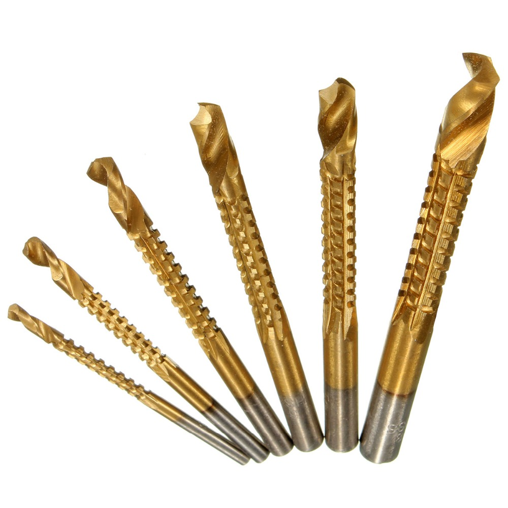 BINOAX-HSS, revêtues de titane, jeu de mèches en acier rapide, 6 pièces Min, outil pour le travail du bois