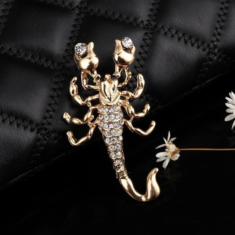 Hesiod Fashion Jewelry Wholesale Crystal Brooch Pin Vivid Scorpion Rhinestone Collar Brooches Dress Decoration 5
